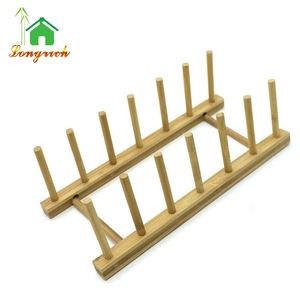 Wooden Bamboo Plate Rack Stand Holder