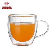 Wholesale 250ml 300ml 350ml 450ml borosilicate double wall glass cup with handle
