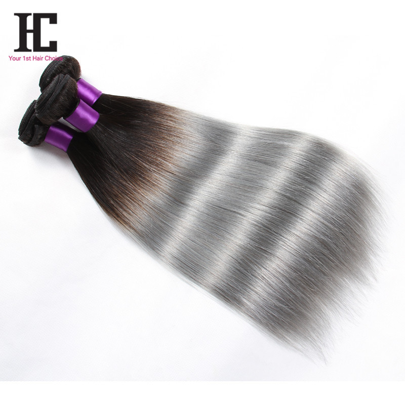 Ombre Silver Hair Brazilian Grey Hair Grace Products Grade 7A Top Hair Extensions 3Pcs Hot 100% Best Grey Human Hair Extensions