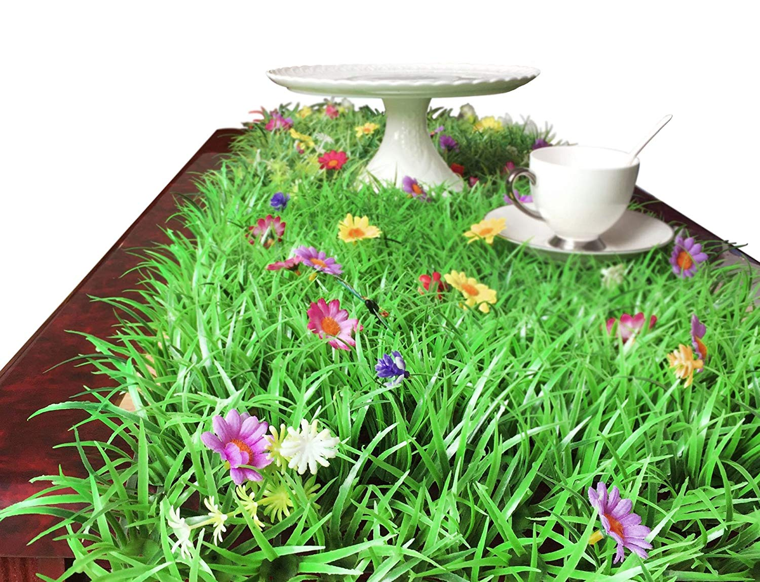 Magicpro 15.8 x 71-Inch Green Artificial Grass Table Top Runner - 3 Pcs Party Table Decorations Table Decor Flower Placemat For Party