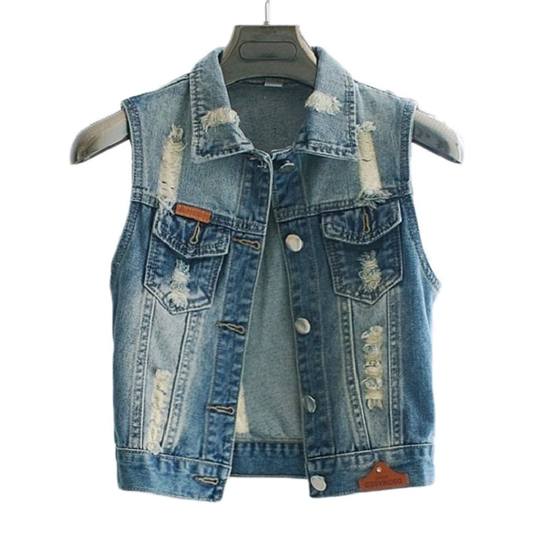 77621df63fc6 Get Quotations · Denim Vest Coat Slim New Sleeveless Jeans Jacket Colete  Plus Size Female Tops Denim Vest