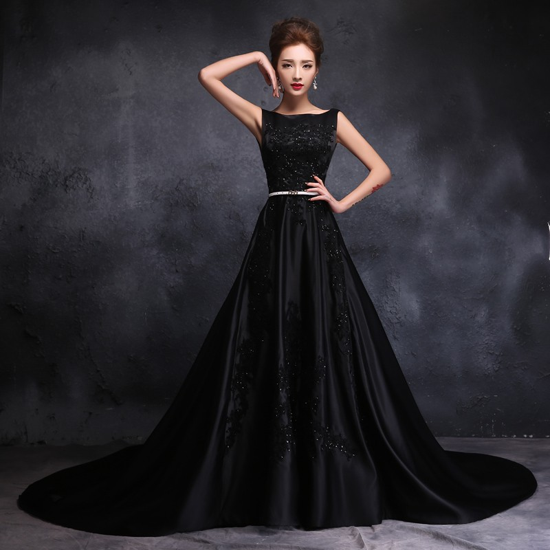 Gothic Black Wedding Dresses Plus Size Ball Gowns Puffy: 2016 Stain Gothic Black Wedding Dresses Chapel Train Scoop