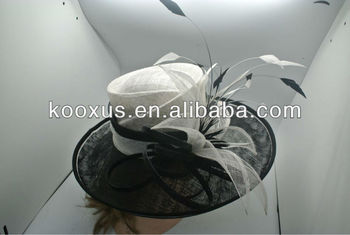 Black And White Sinamay Church Hat With Feather - Buy Sinamay Hat ... afa7053a1da