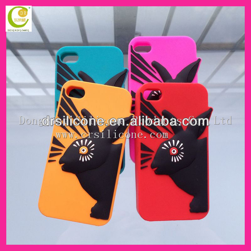 2012 much popular silicone case for iphone with cute cat on the light blue