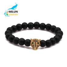 Wholesale alibaba Jewelry Natural stone Black Zircon Green eye animal party Leopard Head Charm Bead Bracelet Men