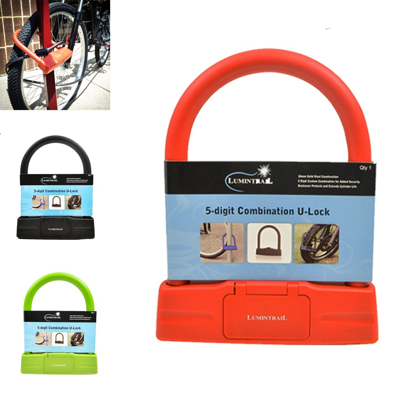 Lumintrail 18mm Heavy Duty 5-Digit Bicycle Bike Combination U-Lock - Assorted Colors