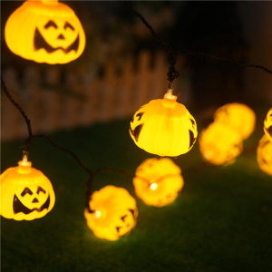 16 LED Orange Pumpkin Halloween Holiday Decor Hanging Halloween Pumpkin Lantern 3D Plastic Skull String Light