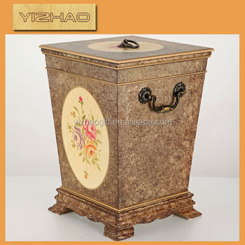 Painting Decorative Wooden Trash Can Bathroom