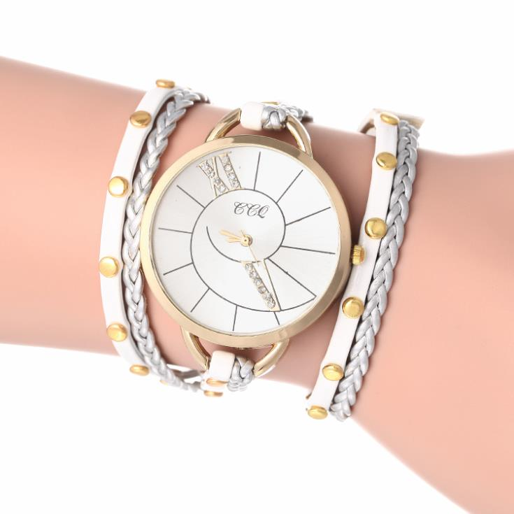 2014 New Fashion Korea Rope Watch Braided PU Leather Cord Bracelet Watch Wrap Lady Watch Women Rhinestone Watch