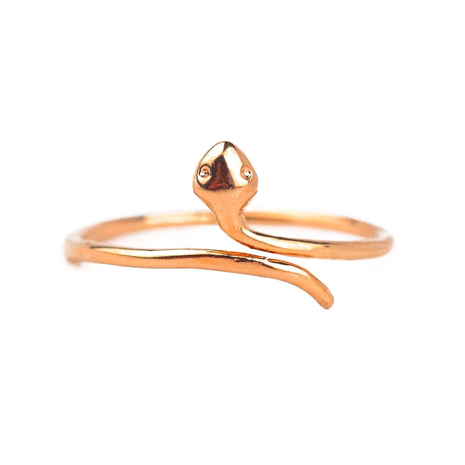 SNAKE RING, Rose Gold Plated Alloy Ring, Pinky Ring Knuckle Rose Gold Ring Adjustable for Women Ring Size 2.5-4 Thin Stackable Ring Unique
