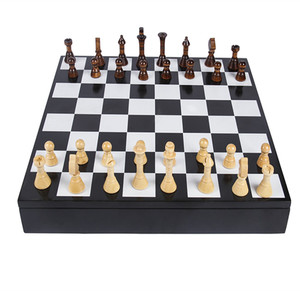 Two player chess game with wooden material