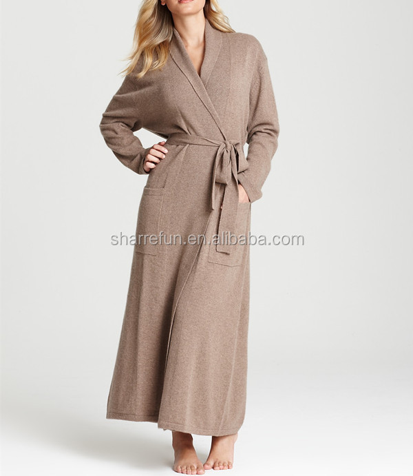 Manufacturer high quality cable knitted pure 100% cashmere bathrobe