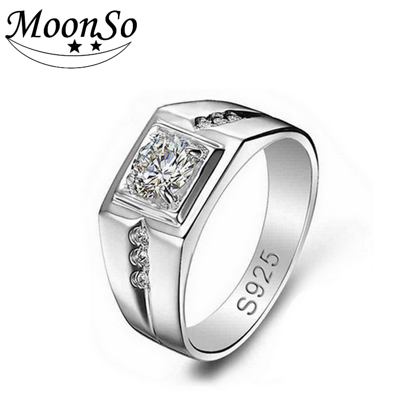 Men's silver wedding ring 925 sterling silver diamond ring designs for men