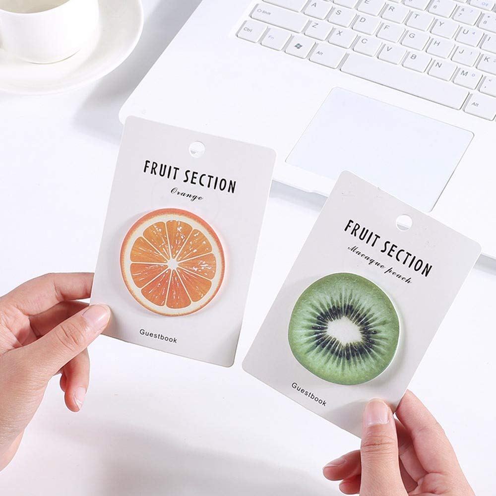 Mustwell 4Pcs/lot Creative Fruit Notepad Self Adhesive Memo Pad Sticky Notes Bookmark School Office Supply