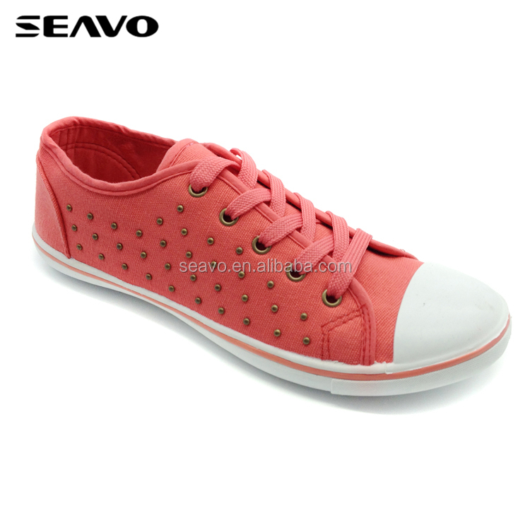 SEAVO SS18 simple canvas shoes rivet trim upper lace up many colors casual shoes for ladies