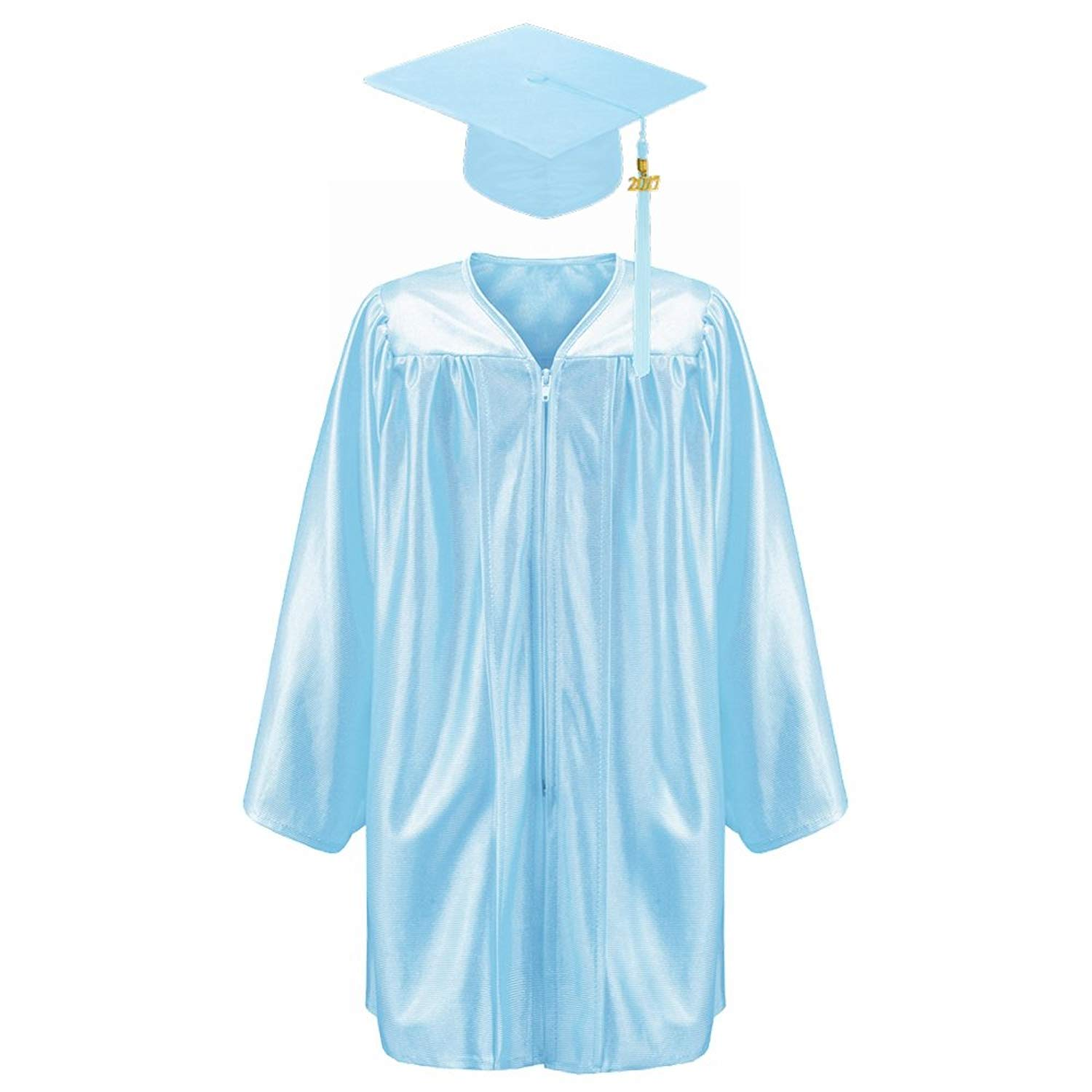 Robe Depot Unisex Shiny Kindergarten Graduation Gown Cap Tassel 2018 Package, Light Blue,S