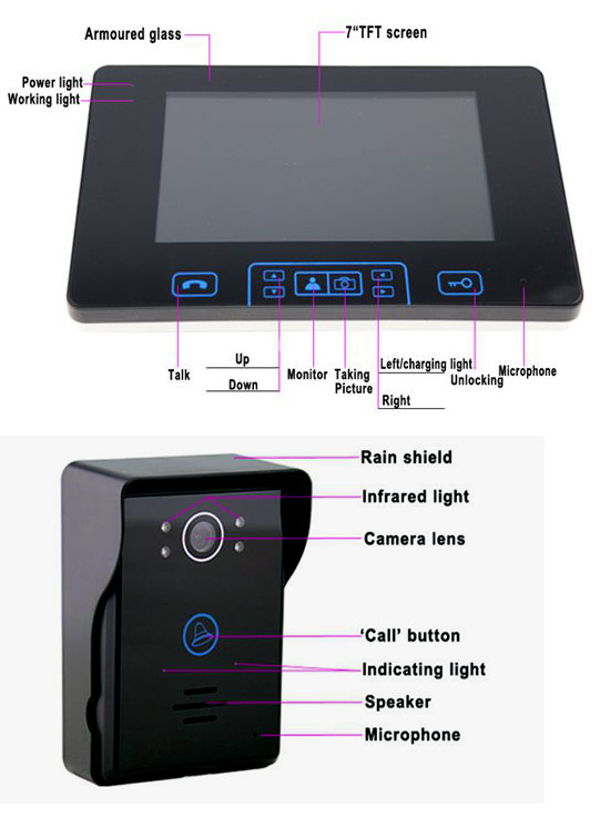 "Luxury 7""colour touch key wired video door phone doorbell intercom system with rainproof door camera"