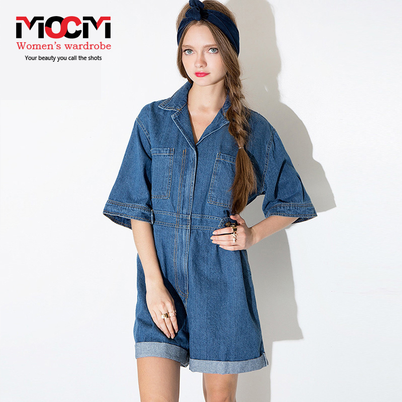 bf6b314cc5f6 Boyfriend style casual loose curling frock wide leg jumpsuits women srpring  and summer denim piece pants