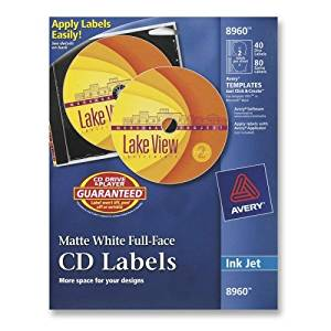 Wholesale CASE of 10 - Avery Customize Full-Face Inkjet CD/DVD Labels -Labels, CD, Inkjet Matte, 40/Labels, 80/Inserts, White