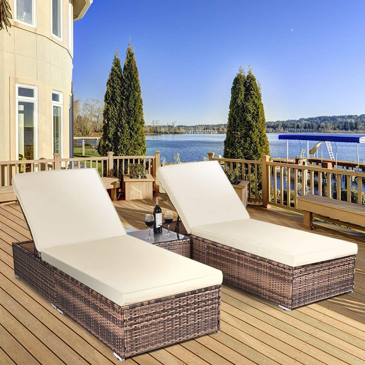 3 Piece Wicker Rattan Chaise Lounge Chair Set Patio Steel Furniture Brown Wicker,Brand new and good quality.Adjustable Patio Pool Chaise Lounge