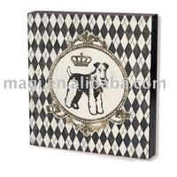 Square Dog with Golden Crown MDF Wooden Crafts