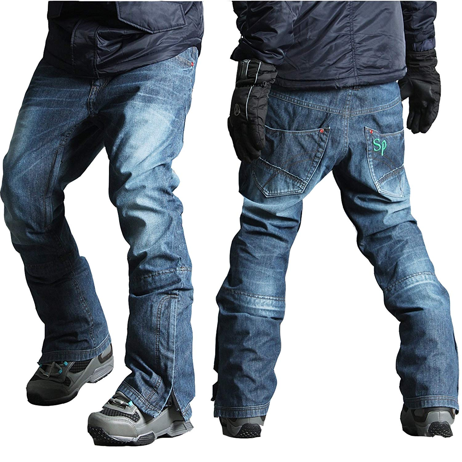 d173cc6dd8 Get Quotations · myglory77mall Mens Winter Warm Waterproof hip Ski  Snowboard Denim Pants JEANS