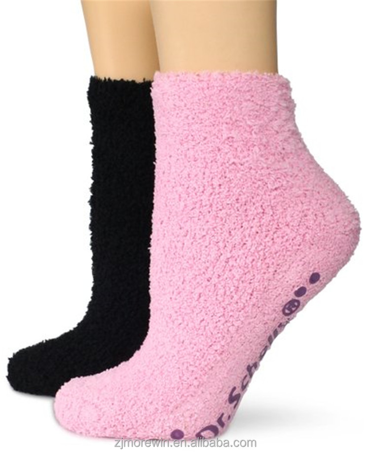 2017 Morewin high quality warm winter custom fuzzy indoor home socks with logo