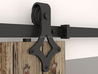 simple metal steel hardware of doors wooden sliding slab barn door
