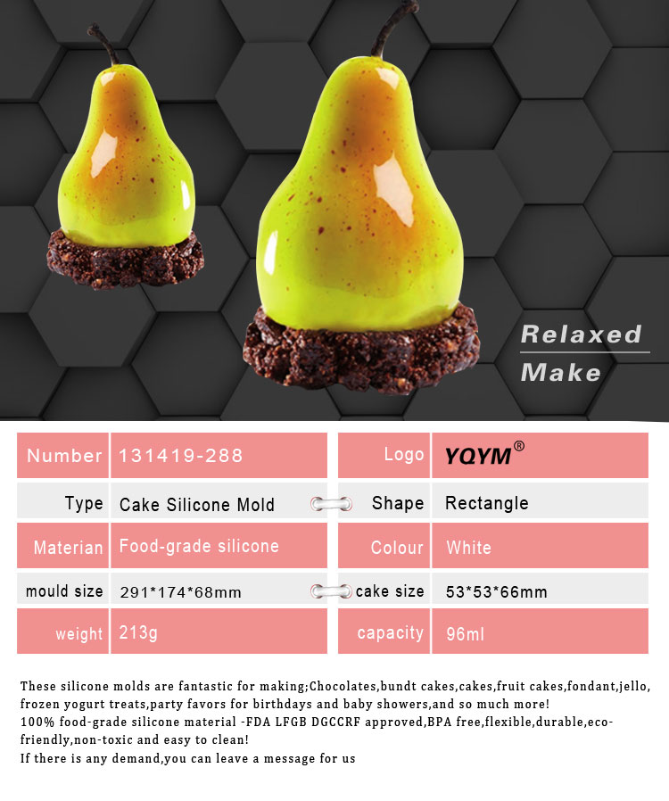 High Quality Silicone baking tools  dessert mould 3D Fruit Pear Shape Silicone Cake Molds