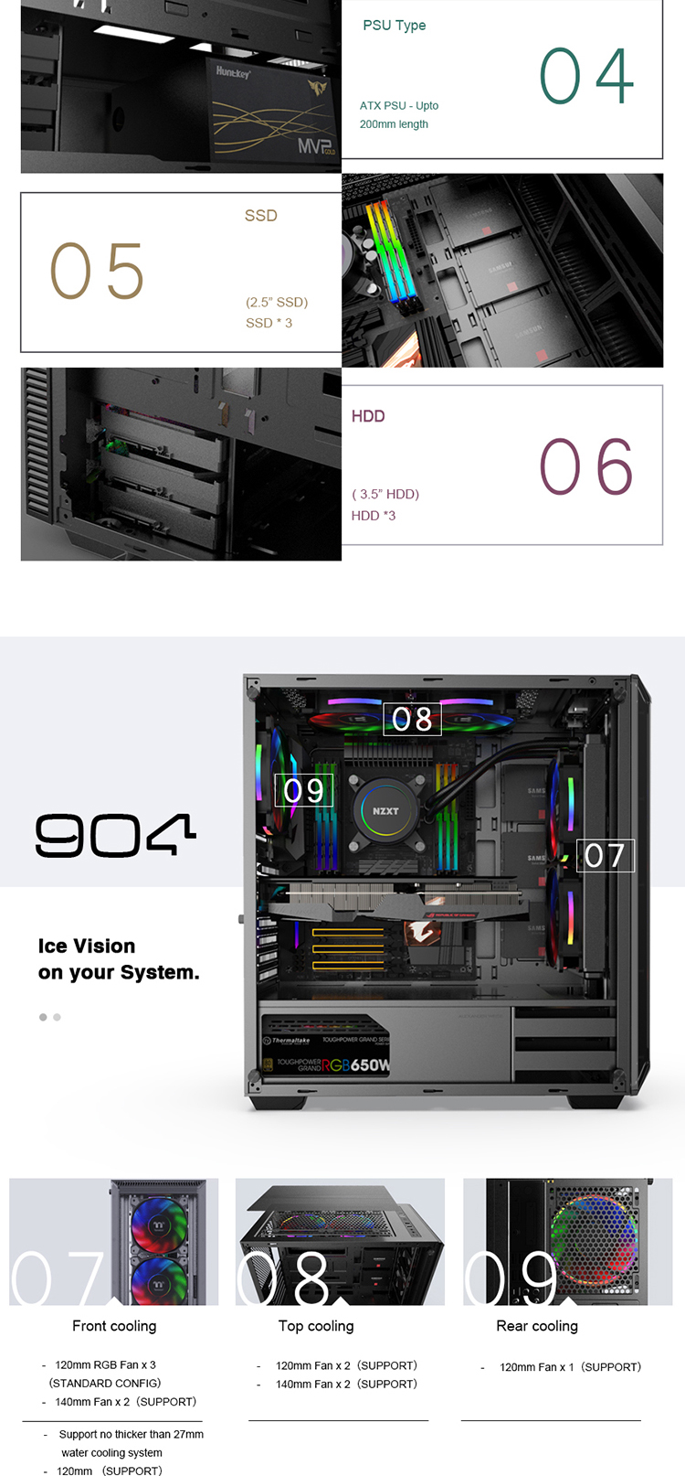 JNP-C904 Attractive 4.0MM Tempered Glass Sideboard ABS Plastic 2.50mm Tea Acrylics EATX RGB fan gaming case for Gamer