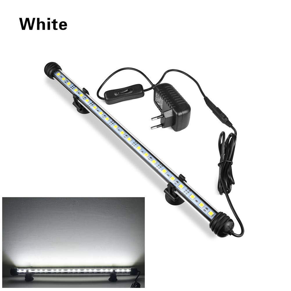 AIMENGTE LED Aquarium Tube Lights,LED Fish Tank Light with Remote, IP68 Waterproof Plant Grow Lights Fully Submerged, 9 LEDs/15 LEDs/21 LEDs/27 LEDs Underwater Bar (11.4 inch/15 LEDs, White)