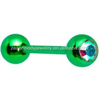 Cheap fashion aurora gem green titanium barbell ball tongue ring body piercing jewelry
