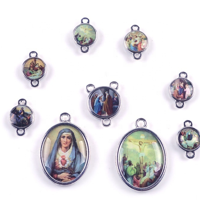 Catholic Blessed Virgin Mary Stickers Medals Devotion Seven Sorrows medals Rosary Connector For Rosary