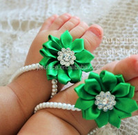 handmade silk ribbon flowers for sale- flower with plastic stone center- baby hair accessories /shoes decoration