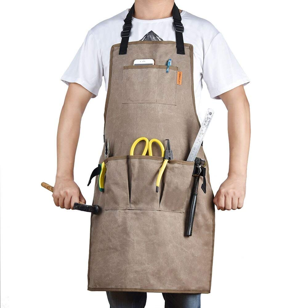 CONVELIFE Waxed Canvas Tool Apron—Work Apron Waterproof With 5 Tool Pockets and 2 Hammer Loops For Men & Women Utility Heavy Duty Shop Aprons With Long Cross-back Straps Adjustable M to XXL