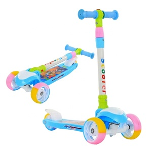 Nylon deck colorful toy cheap child scooters 3 pu wheels for sale / scooter children 3 wheels