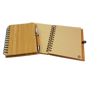 Novelty Recycled Wood Notebook Hard Cover Promotional Bamboo Cover Notebook