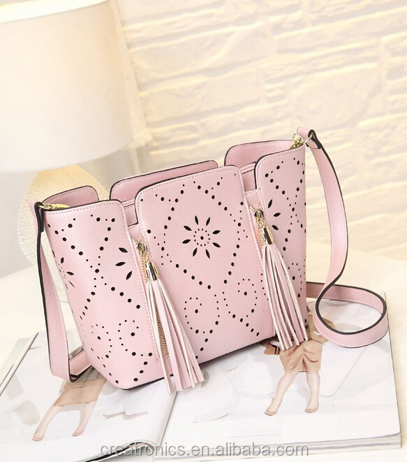 Cr On Time Delivery Guaranteed Handbags Latest Model With Tassels Long Strap Shoulder Bag Beautiful Pink
