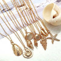 2019 hot new fashion necklace jewelry alloy gold pendant shell necklace for women