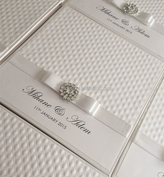 Luxury White High Quality Hard Cover Embossed Crystal Wedding Invitations Card Gatefold