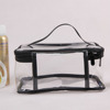 Custom pvc plastic clear transparent make up black tote cosmetic bag with zipper