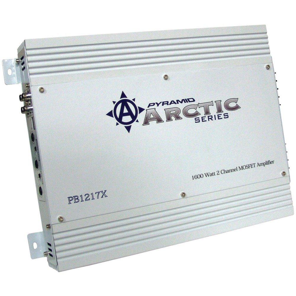 """PYRAMID PB1217X Arctic Series 2-Channel MOSFET Amp (1,600W max, 75W x 2 @ 4_; Dim: 12.59""""D)"""