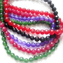 "Wholesale 16""loose strand gemstone 4mm colorful dyed jade faceted round beads for jewelry making"