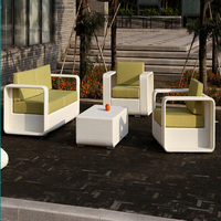 Classical white PE rattan outdoor coffee set