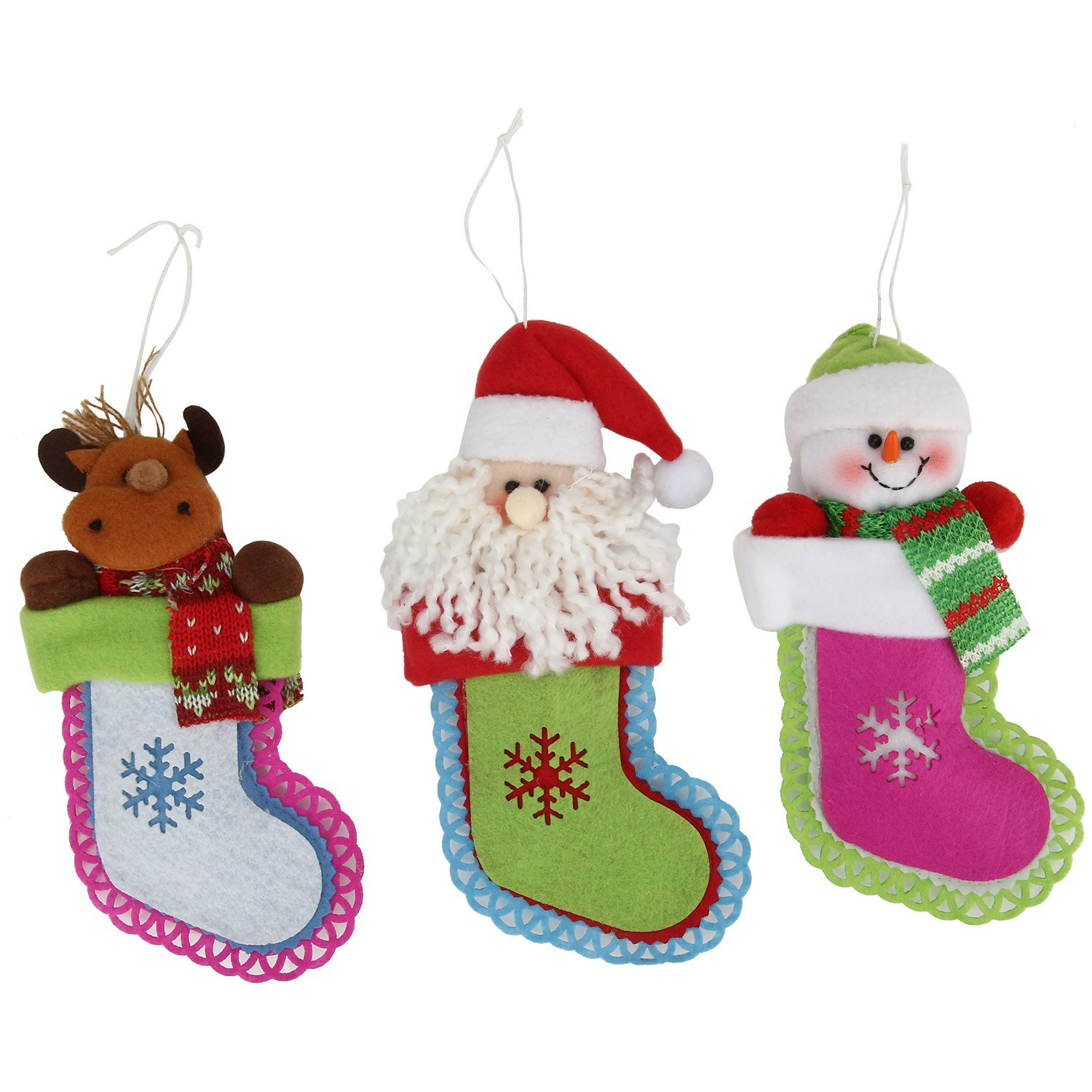 Danibos Adorable All Kinds of Assorted Winter Santa Claus Christmas Deer Christmas Gloves Christmas Stockings Lucky Hanging Drop Tree Ornaments Cute Christmas Gift (stockings set)