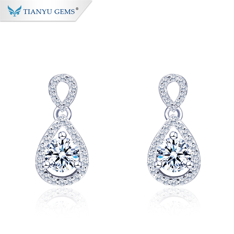 Tianyu gems fashion jewelry wholesale pear design 925 silver gold plated moissanite earring