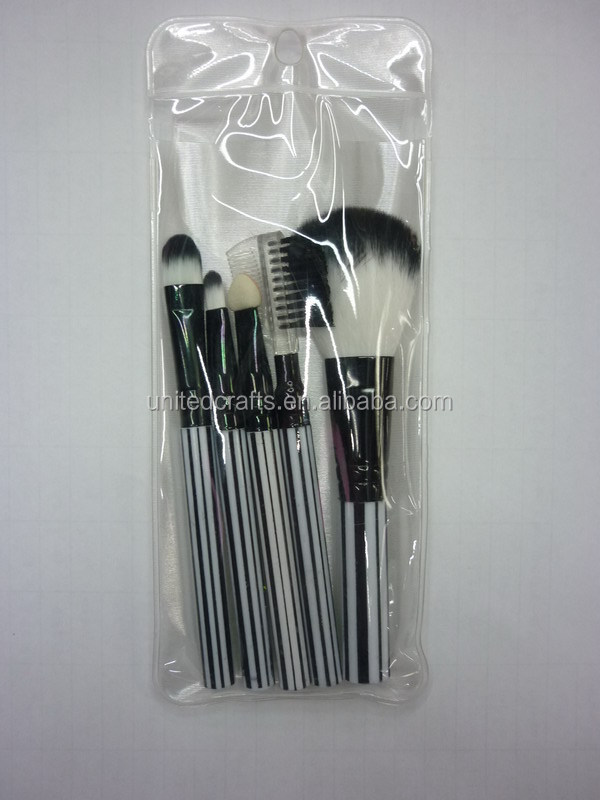 cheap synthetic hair professional make up brush set zebra-stripe handle brushes