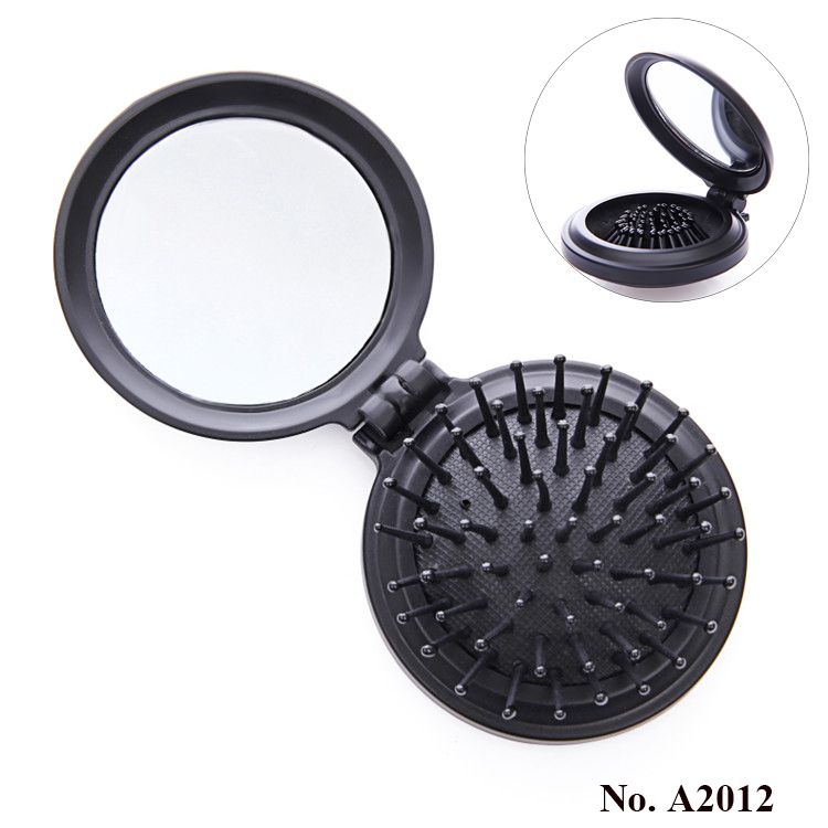 A2012 Plastic hair comb vintage folding round pocket comb with mirror