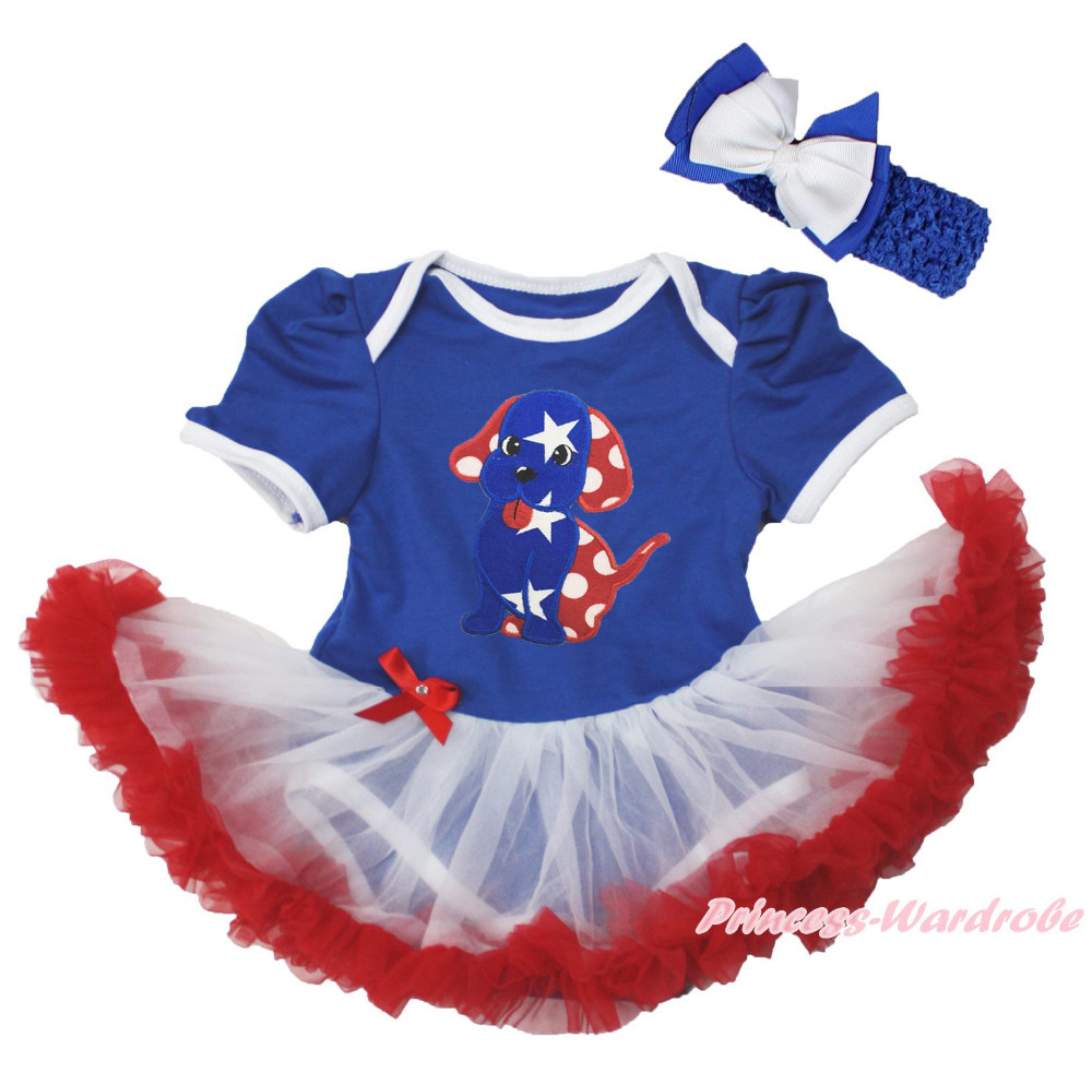 4th July Patriotic Star Dog Puppy Blue Bodysuit Girl White Red Baby Dress NB-18M