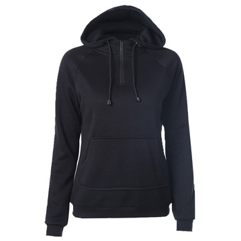 Onen Plain Black Zipper Pullover Hoodies Without Women ...